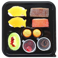 Raindrops Gummy Candy Sushi Mini Bento Box With 9 Pieces - 5 Kinds Of Sushi Rolls And Garnishes - Made From Marshmallows, Licorice, Sour Strips, Gummi Bears And Fish - Fun And Unique Candy Gifts
