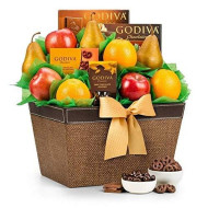Gifttree Fresh Fruit &Amp; Godiva Chocolate Gift Basket | Includes Gourmet Chocolates And Confections From Godiva | Fresh Pears, Crisp Apples, Juicy Oranges In A Reusable Container