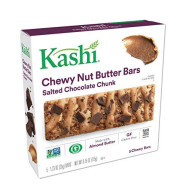 Kashi,Chewy Nut Butter Bars, Salted Chocolate Chunk, Vegan, Gluten Free,Non-GMO Project Verified, 6.15 oz (5 Count)