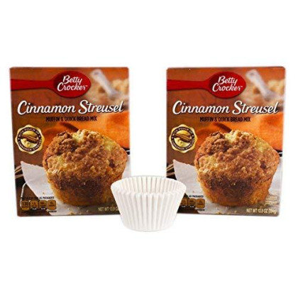 Bundle: Betty Crocker Muffin And Bread Mix With Free Muffin Cups (Cinnamon Streusel)