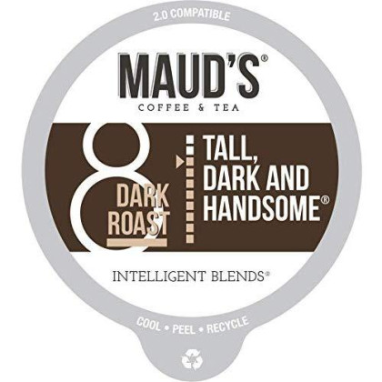 Maud'S Dark Roast Coffee (Tall Dark & Handsome), 100Ct. Recyclable Single Serve Coffee Pods - Richly Satisfying Arabica Beans California Roasted, K-Cup Compatible Including 2.0