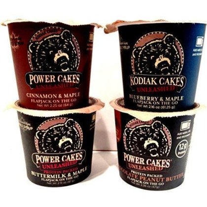 Kodiak Cakes Unleashed, Flapjack On The Go Ultimate Variety 8 Pack, 2 Cups Each Of Chocolate & Peanut Butter, Blueberry & Maple, Cinnamon & Maple, Buttermilk & Maple, 100% Whole Grain.
