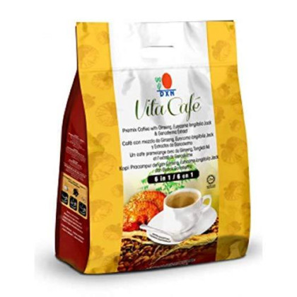15 Packs Dxn Vita Cafe 6 In 1 Healthy Ganoderma Coffee With Ginseng And Tongkat Ali Eurycoma Longifolia Jack (Total 300 Sachets X 21G)