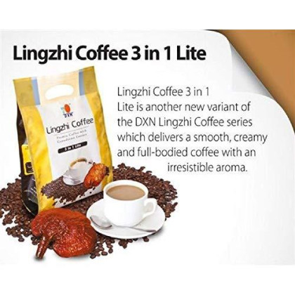 24 Packs Dxn Lingzhi 3 In 1 Lite With Ganoderma Healthy Coffee (Total : 480 Sachets X 21G)