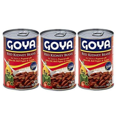 Goya Red Kidney Beans In Sauce With Olive Oil, Bell Pepper & Tomato 15Oz (3 Pack)