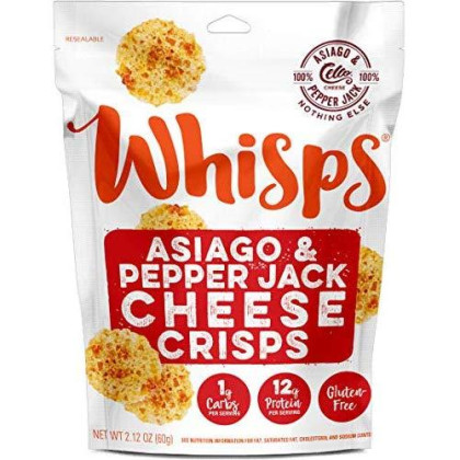 Cello Whisps 100% Asiago Pepper Jack Cheese Crisps And Chips Snack Bags (12 Pack, 2.12Oz)