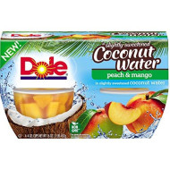 Dole Fruit Bowls, Peach Mango in Slightly Sweetened Coconut Water, 4 Cups, Pack of 6