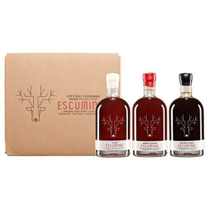 Award Winning Escuminac Canadian Maple Syrup Gift Bundle Grade A Including Our Extra Rare, Great Harvest And Late Harvest - Pure Organic Unblended Single Forest - 3 X 6.8 Fl Oz (200 Ml)