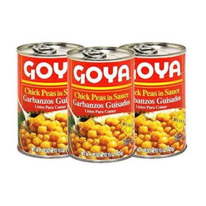 Goya Chick Peas in Sauce 15oz (3 Pack) Ready to Eat