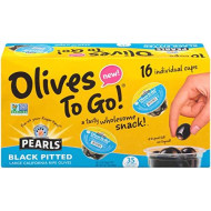 Pearls Olives To Go! 1.2 Oz. Large Ripe Pitted Black Olives, 16-Cups