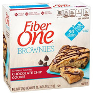 Fiber One 90 Calorie Brownie, Chocolate Chip Cookie, 6 Count, 5.34 Oz (Pack Of 8)