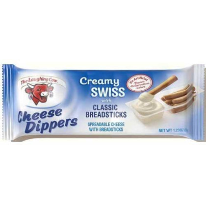 Laughing Cow Original Swiss Cheese Dippers With Breadsticks, 1.23 Ounce - 20 Per Case.