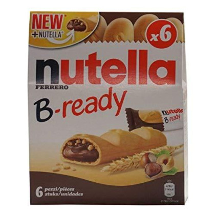"""Ferrero: """"Nutella B-Ready New + Nutella """" A Crisp Wafer Of Bread In The Form Of Mini - Baguette Stuffed With A Creamy Nutella 6 Pieces 4.6 Oz (132G) Pack Of 3 [ Italian Import ]"""