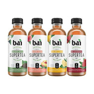 Bai Iced Tea, Supertea Variety Pack II, Crafted with Black Tea and White Tea, 18 Fluid Ounce Bottles, 12 count, 3 each of Narino Peach Tea, Rio Raspberry Tea, Socorro Sweet Tea, Tanzania Lemon Tea