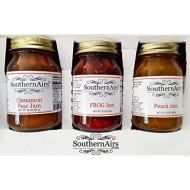 Southernairs Old-Fashioned Jam Trio / Frog Jam / Cinnamon Pear Jam / Peach Jam / All-Natural / 3 - Pack