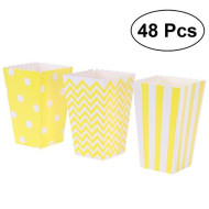 Toymytoy Popcorn Boxes,Cardboard Popcorn Containers For Carnival Party Movie,Yellow,48 Pcs