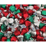 Laetafood Bag - Hershey'S Kisses Milk Chocolate, Christmas Edition, Red Green Silver Foils (Pack Of 2 Pound)