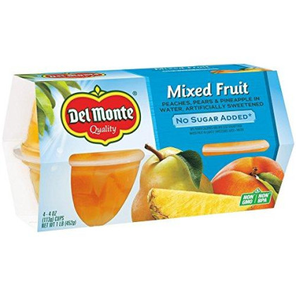 Del Monte Fruit Cups, Mixed Fruit in Water, No Sugar Added, 4 Cups, 4-Ounce (Pack of 6)