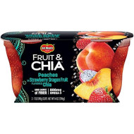 Del Monte Fruit & Chia Snack Cups, Peaches in Strawberry Dragon Fruit Flavored Chia, 7-Ounce Cups, 12-Count