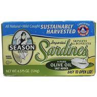 SEASON BRAND, SARDINES, SKNLS/BNLS, CLUB, Pack of 12, Size 4.375 OZ - No Artificial Ingredients GMO Free