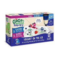 Gogo Squeez Yogurtz On The Go, Variety Pack (Berry/Blueberry), 3 Ounce Portable Bpa-Free Pouches, Gluten-Free, 60 Total Pouches (6 Boxes With 10 Pouches Each)