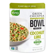 Vana Life's VEGAN, GLUTEN FREE, PLANT BASED PROTEIN Green Chickpea SUPER FOOD BOWL- 100% Natural with Coconut, Lime and Cilantro (6 Packaged Bowls)