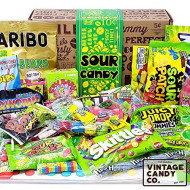 Vintage Candy Co. Sour Candy Assortment Gift Box - Best Candy Variety Mix Care Package - Unique & Fun Gag Gift Basket - Perfect For Man Or Woman Who Loves Sour Candy
