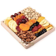 Milliard Dried Fruit &Amp; Nut Deluxe Gift Platter Arrangement On Wood Tray For Occasions Including New Years, Valentines Day, Mothers Day And Holiday - 24 Ounce Assortment