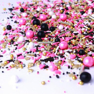 Queen Of Pop Sprinkle Mix   Valentine'S Day  Pink And Black   Birthday   Princess  Christmas Sprinkles, 8Oz