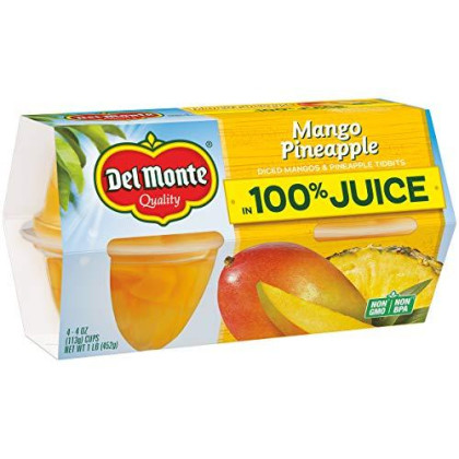 Del Monte Mango Pineapple Plastic Fruit Cups Made with Real Fruit Juice, 4.4 Ounce (Pack of 24)