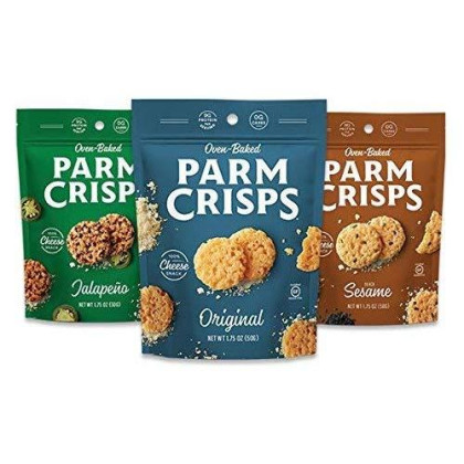 Parmcrisps, Made From 100% Real Parmesan Cheese, Gluten Free, Sugar Free, Keto Friendly, Parm Crisp 3 Flavor Variety Pack, 1.75Oz Bags (Pack Of 12)