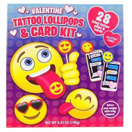 Valentine'S Day Emoji Icing Tattoo Lollipops And Cards Kit, 28 Count