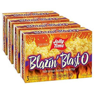 JOLLY TIME Blazin' Blast O Butter   Spicy Hot Gourmet Movie Theater Buttery Microwave Popcorn with Fiery Chili Pepper Seasoning Kick (3-Count Boxes, Pack of 4)
