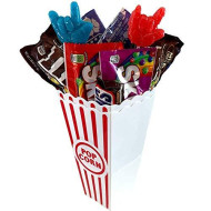 The Best Movie Night Care Package - Gift Basket Includes 2 Popcorn Cups, 2 Microwave Popcorn Bags, 5 Bags Of Candy And 2 Suckers