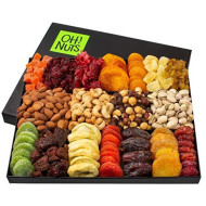 Oh! Nuts Christmas Gift Baskets - Xl 18 Variety Dried Fruit &Amp; Nut Gourmet Holiday Family Gifts - Prime Delivery Snack Food Basket Set Unique Ideas For Birthday Men Women Thanksgiving &Amp; Valentines Day