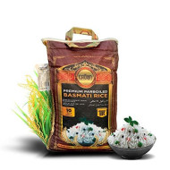 Premium Quality Crown White Parboiled (Sella) Basmati Rice - White 2 years Aged Extra Lengthy Basmati Rice - 100% Authentic Extra Long Grain White Basmati Rice From the Foothills of Himalayas 10 lbs.