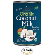 Organic Coconut Milk 13.5 Oz (Pack Of 12) Premium - Unsweetened, Full 18% Fat, Vegan, Paleo, No Guar Gum, Bpa Free, Keto Friendly - By Jiva Organics