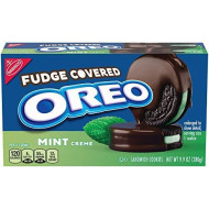 Oreo Fudge Covered Sandwich Cookies, Mint Creme, 9.9 oz (Pack of 2)