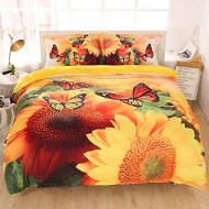 Imiee Beautiful Sunflower And Butterfly Duvet Cover Bedding Sets 3 Pieces Queen Size For Teen Kids, Tencel Cotton Butterfly Comforter Cover Sheet Sets With Pillowcases(Queen)