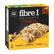 Fibre 1 Delights Soft Baked bar - Cinnamon Bun, 5 Count,125g/4.4oz, Imported from Canada}