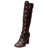 Toimothcn Women Knee High Boots Vintage Gothic Pirate Booties Square High Heels Snow Boots Shoes (Brown,8)