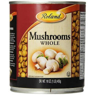 Roland Foods Whole Medium And Large Button Mushrooms, Specialty Imported Food, 16 Ounce (4 Pack)