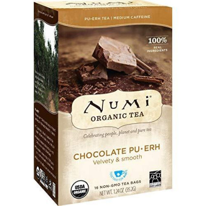 Numi Organic Tea Chocolate Pu-Erh, 16 Bags, Black Pu-Erh Tea In Non-Gmo Biodegradable Bags, Premium Individually Bagged Tea, Organic Fermented Pu-Erh Tea, Aged Pu-Erh Tea