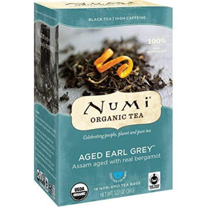 Numi Organic Tea Aged Earl Grey, (Pack Of 3) 18 Bags Per Box (Packaging May Vary), Premium Organic Black Tea Naturally Aged W/ Italian Bergamot To Absorb Flavor, Non-Gmo Biodegradable Bags, Bagged