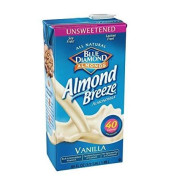 Blue Diamond Almond Breeze Unsweetened Vanilla 64 Oz (Pack Of 8)