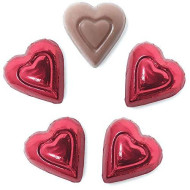 Madelaine Premium Chocolate Hearts Valentines Candy - Solid Milk Chocolate Mini Hearts Wrapped In Italian Foil (Red, 1 Lb)