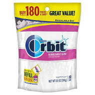 Orbit Bubblemint Sugarfree Gum, 180 Piece Bag