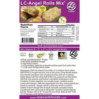 Low Carb Angel Roll Mix - Lc Foods - All Natural - No Sugar - Diabetic Friendly - 7.8 Oz