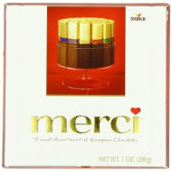 MERCI Finest Assortment of Eight European Chocolates, 7 Ounce Box | Chocolate Gift Box for Holiday Gifts, Teacher Gifts, Gifts for Mom, Gifts for Dad, Thank You Gifts or Personalized Gifts