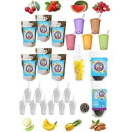 The Ultimate Diy Boba/Bubble Tea Kit, 60+ Drinks, 6 Flavors, Boba Pearls, Cups, Straws And Shaker (Fruity)